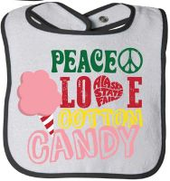 Peace Love and Cotton Candy Baby Bib