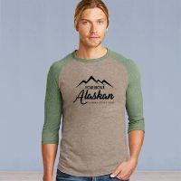 Mens 3/4 Sleeve Tshirt - Homegrown Alaskan - Stone Brown/Pine Green