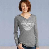 Ladies Hooded Sweater Tshirt - Memories in the Making Heart - Grey