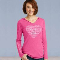 Hooded Sweater Tshirt - Memories in the Making Heart - Pink