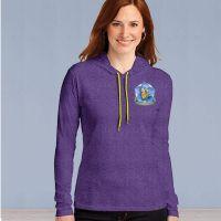 Ladies Hooded Sweater Tshirt - Memories in the Making Logo - Heathered Purple