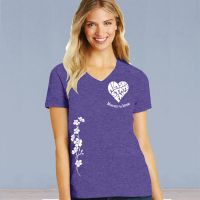 V-Neck Short Sleeve Tshirt - ASF Heart Love with Ivy - Heathered Purple