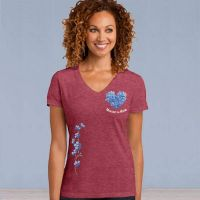 V-Neck Short Sleeve Tshirt - Forget-Me-Not Love with Ivy - Heathered Red