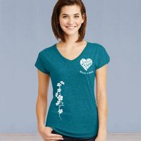 V-Neck Short Sleeve Tshirt - ASF Heart Love with Ivy - Galapagos Blue